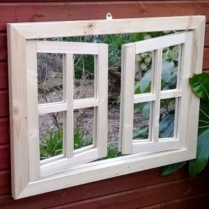 Budget Double Window Ajar Garden Mirror Illusion
