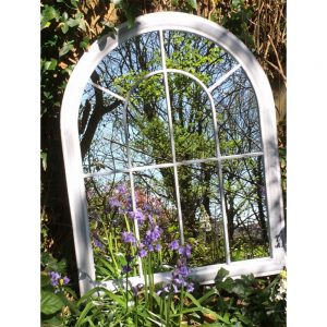Curved Arch Top Metal Garden Mirror