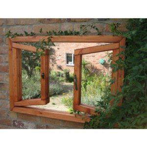Double Opening Window Illusion Garden Mirror