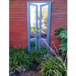 French Doors Ajar Garden Mirror Illusion