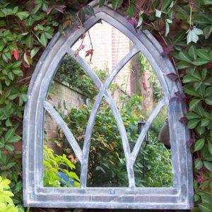 Mid Grey Gothic Arch Garden Mirror
