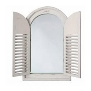 Oval Top Garden Mirror with Opening Shutter Doors
