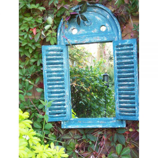 Renaissance Garden Mirror with Opening Shutter Doors - Blue