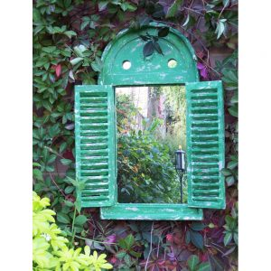 Renaissance Garden Mirror with Opening Shutter Doors - Green