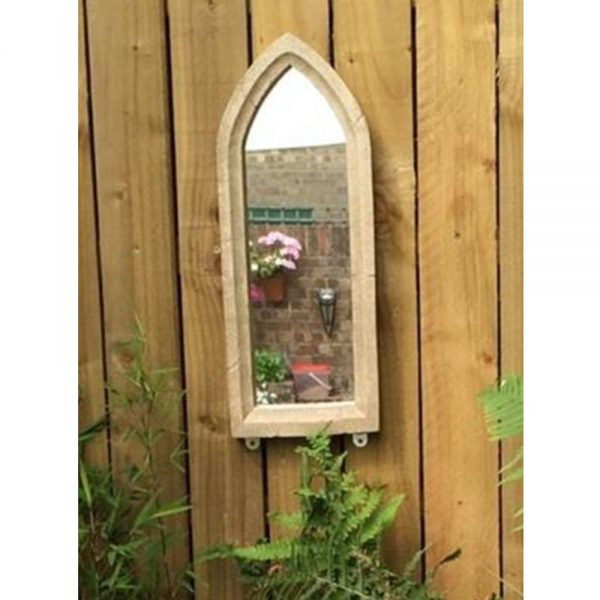 Small Resin Stone Gothic Garden Mirror