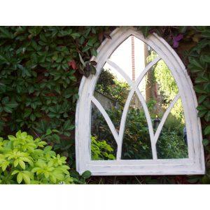 White Wash Gothic Arch Garden Mirror