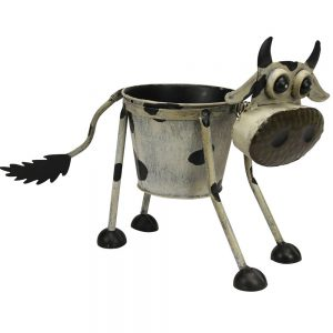 Metal Goofy Cow Planter