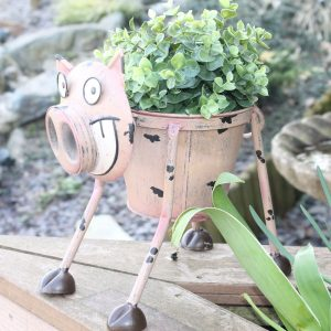 Metal Goofy Pig Planter