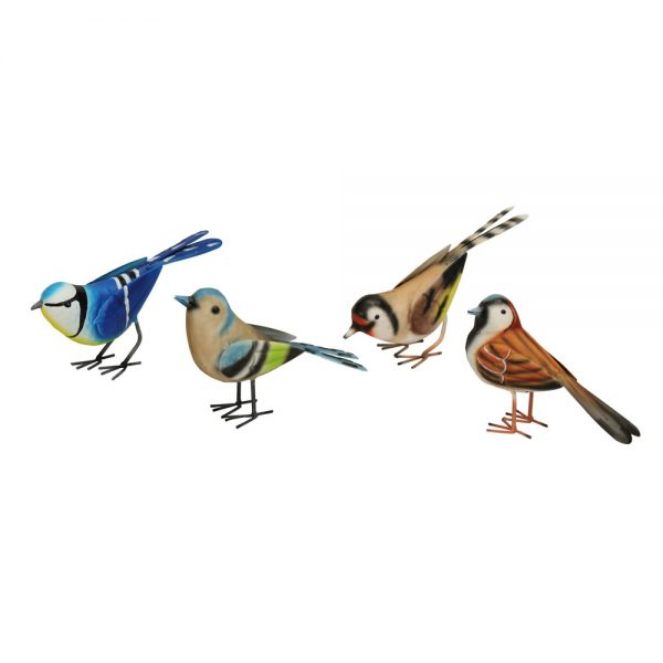 Set of 4 Metal British Birds Garden Ornaments
