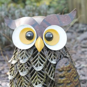 Metal Brown Woodland Owl Garden Ornament