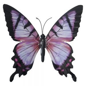 Large Metal Butterfly Garden Wall Art in Pink and Black