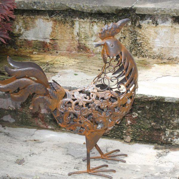 Rusty Metal Rooster Garden Ornament