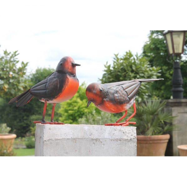 Set of 2 Small Metal Robin Birds Garden Ornament
