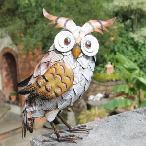 White Metal Owl Garden Ornament