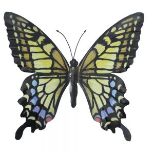 Large Metal Butterfly Garden Wall Art in Yellow