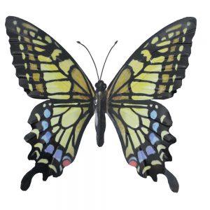 Large Metal Butterfly Garden Wall Art in Yellow