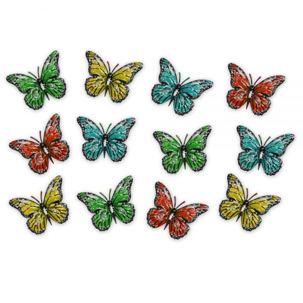 Pack of 12 Multi-coloured Butterflies for Garden Wall Art