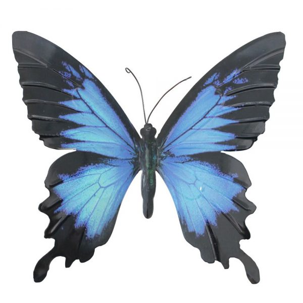 Large Metal Butterfly Wall Art in Blue and Black
