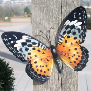Large Metal Butterfly Wall Art in Orange and Black