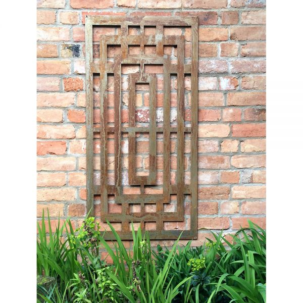 Rusty Box Maze Metal Decorative Garden Wall Panel