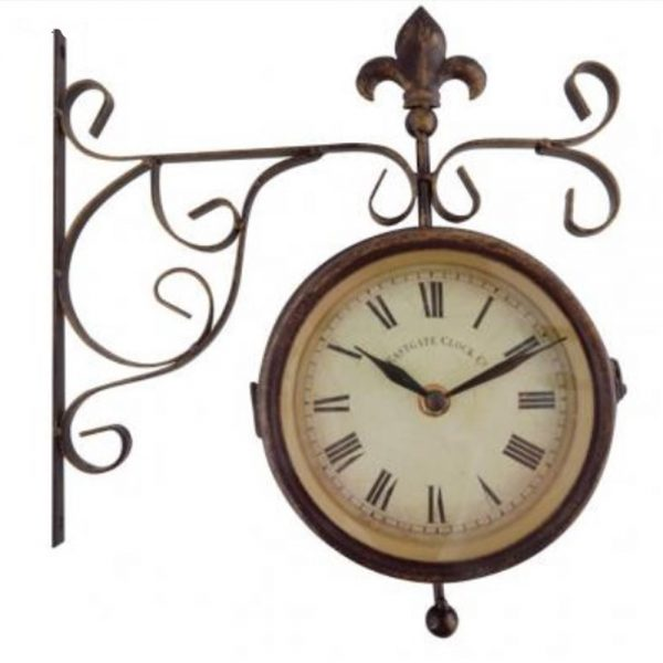 Wall Mounted Clock and Thermometer on Hanging Bracket