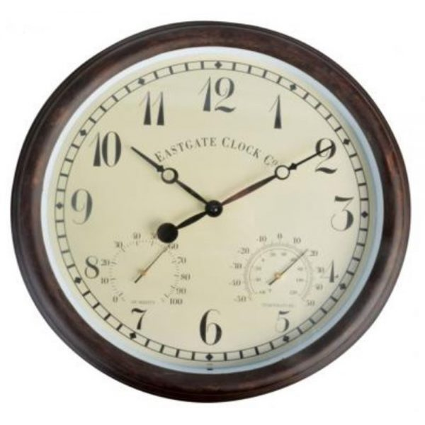 Wall Clock and Weather Station (Numerical) in Brown