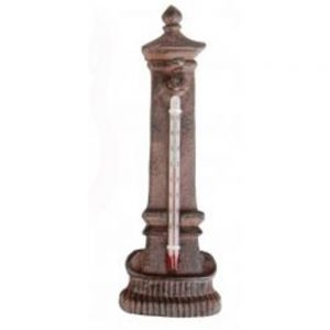 Cast Iron Water Fountain Shaped Rustic Garden Thermometer