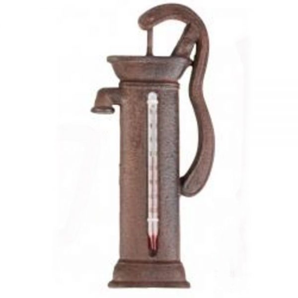 Cast Iron Water Pump Shaped Rustic Garden Thermometer
