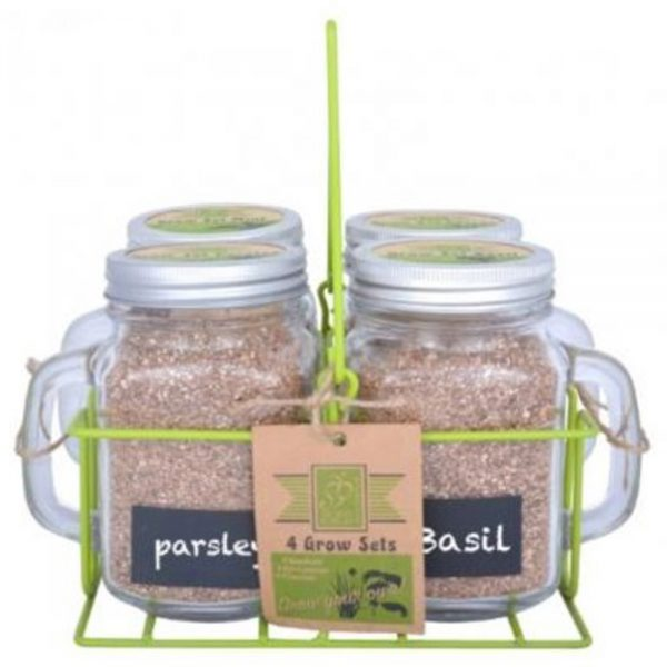 Grow Your Own Herbs Gift Set with 4 Garden Mugs and Carrier