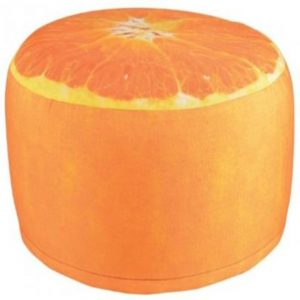 Outdoor Orange Print Garden Pouffe Footrest/Seat