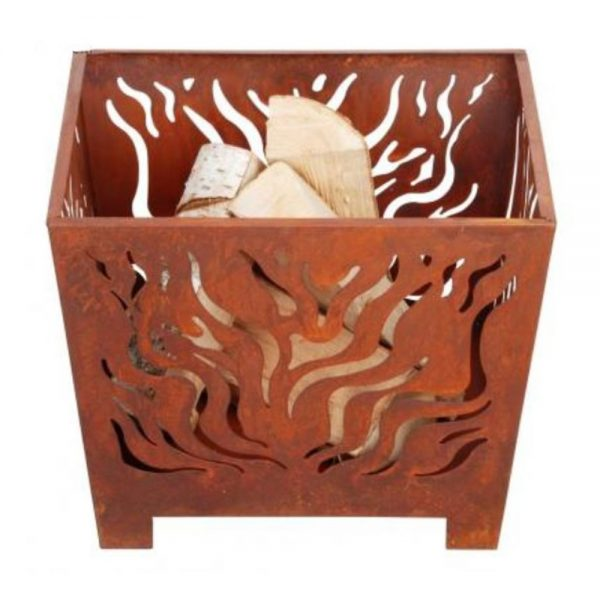 Small Square Rusty Garden Fire Basket