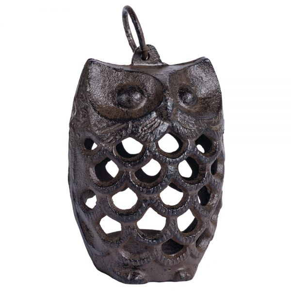 Small Cast Iron Owl Tea Light Lantern