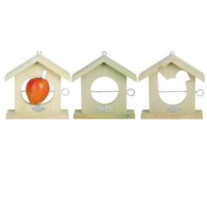 Wooden Framed Silhouette Shape Fruit Bird Feeder - Apple