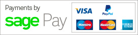 Payments by SagePay - Visa, PayPal, Maestro, Mastercard and American Express