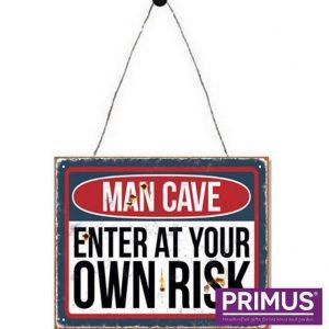 man cave enter at own risk sign